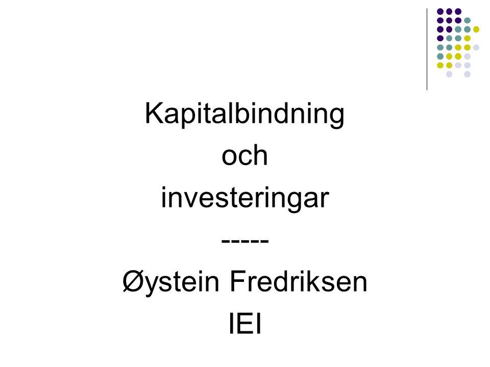 Maskiner, inventarier och byggnader  Som vi redan konstaterat finns det vid finansiell planering en stark koppling mellan rörelsekapital och omsättning, även om ändrade lagrings- och kredittider kan medföra justeringar uppåt eller nedåt av kapitalbindningen.