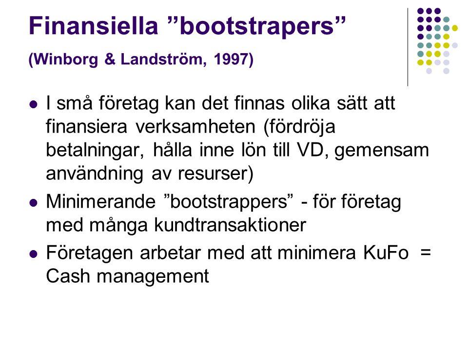 """Finansiella """"bootstrapers"""" (Winborg & Landström, 1997)  I små företag kan det finnas olika sätt att finansiera verksamheten (fördröja betalningar, hå"""