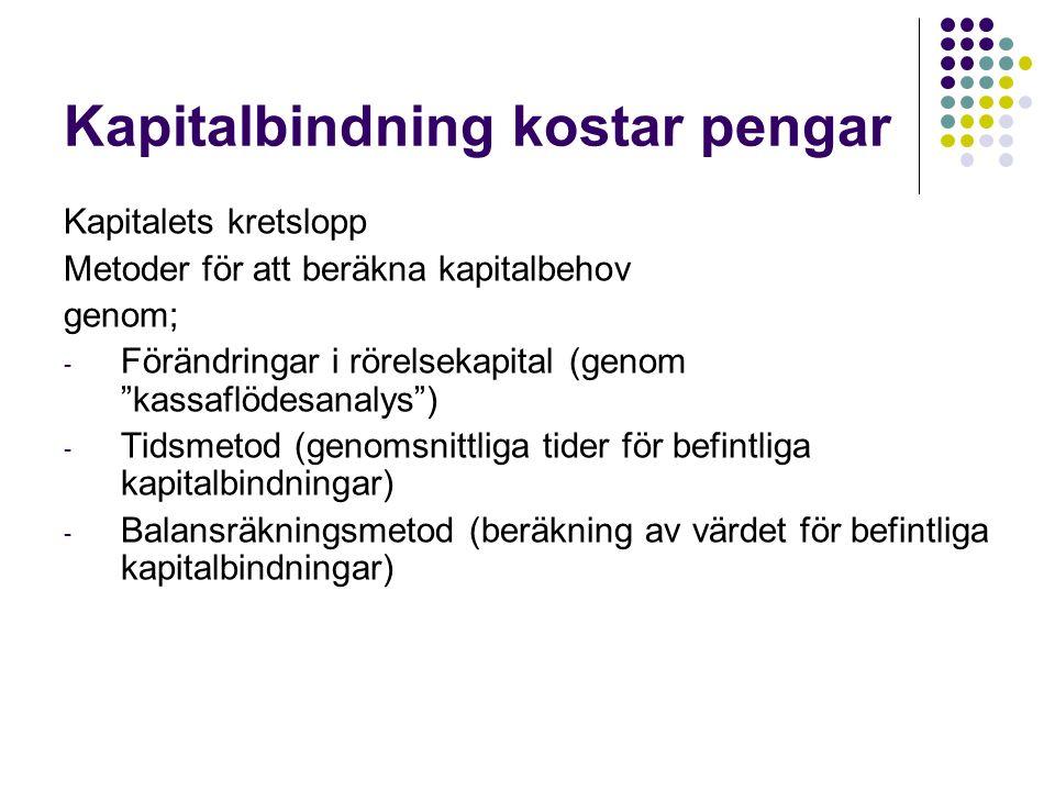 """Kapitalbindning kostar pengar Kapitalets kretslopp Metoder för att beräkna kapitalbehov genom; - Förändringar i rörelsekapital (genom """"kassaflödesanal"""