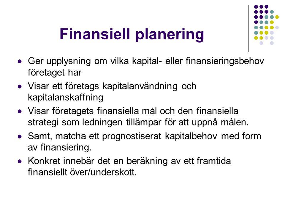 Finansiell planering  Ger upplysning om vilka kapital- eller finansieringsbehov företaget har  Visar ett företags kapitalanvändning och kapitalanska