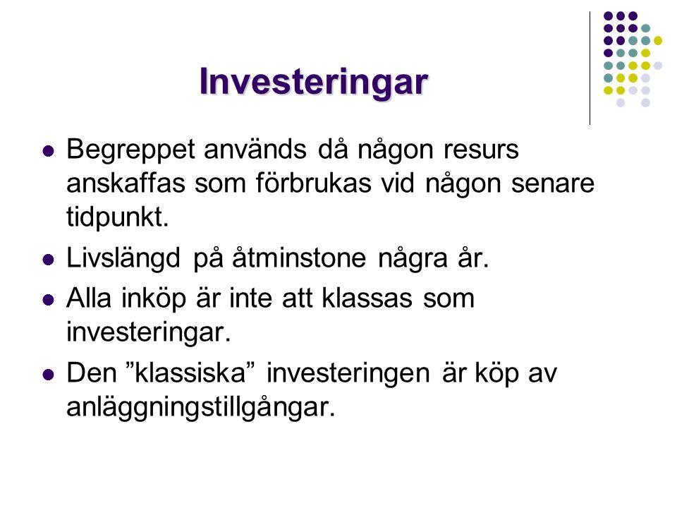 Investeringar  Begreppet används då någon resurs anskaffas som förbrukas vid någon senare tidpunkt.  Livslängd på åtminstone några år.  Alla inköp