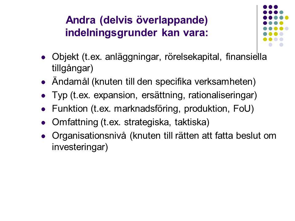 Andra (delvis överlappande) indelningsgrunder kan vara:  Objekt (t.ex. anläggningar, rörelsekapital, finansiella tillgångar)  Ändamål (knuten till d