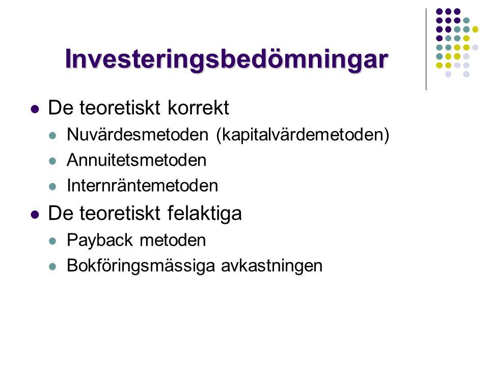 Investeringsbedömningar  De teoretiskt korrekt  Nuvärdesmetoden (kapitalvärdemetoden)  Annuitetsmetoden  Internräntemetoden  De teoretiskt felakt