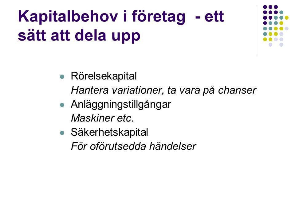 Rörelsekapitalet  Utgångspunkt är att kapitalbindning kostar pengar  RÖK= OT – KS, RÖK= E + LS – A