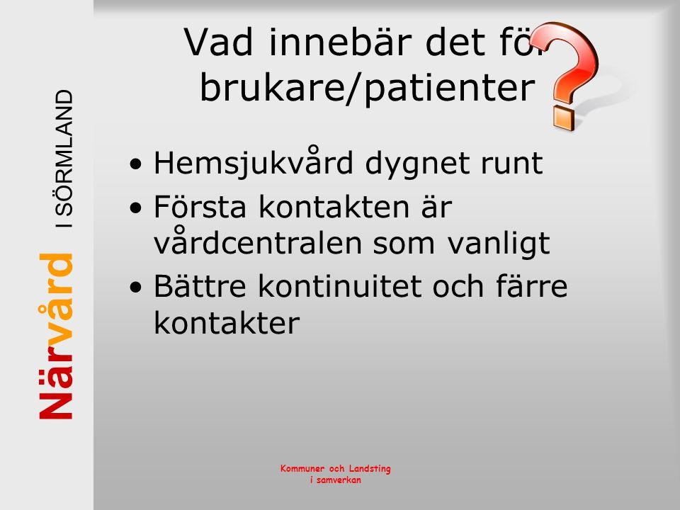 När vård I SÖRMLAND Kommuner och Landsting i samverkan Vad innebär det för brukare/patienter •Hemsjukvård dygnet runt •Första kontakten är vårdcentral