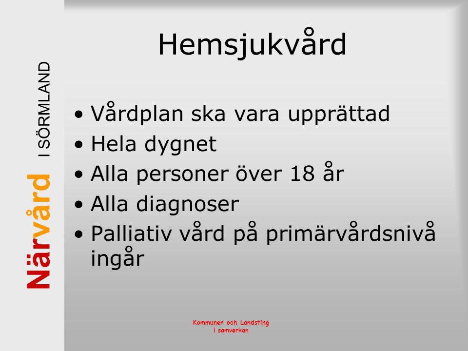 När vård I SÖRMLAND Kommuner och Landsting i samverkan Hemsjukvård •Vårdplan ska vara upprättad •Hela dygnet •Alla personer över 18 år •Alla diagnoser