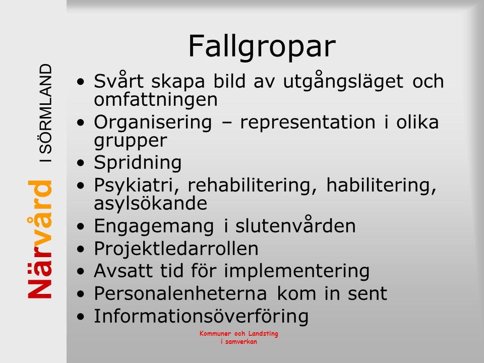 När vård I SÖRMLAND Kommuner och Landsting i samverkan Fallgropar •Svårt skapa bild av utgångsläget och omfattningen •Organisering – representation i