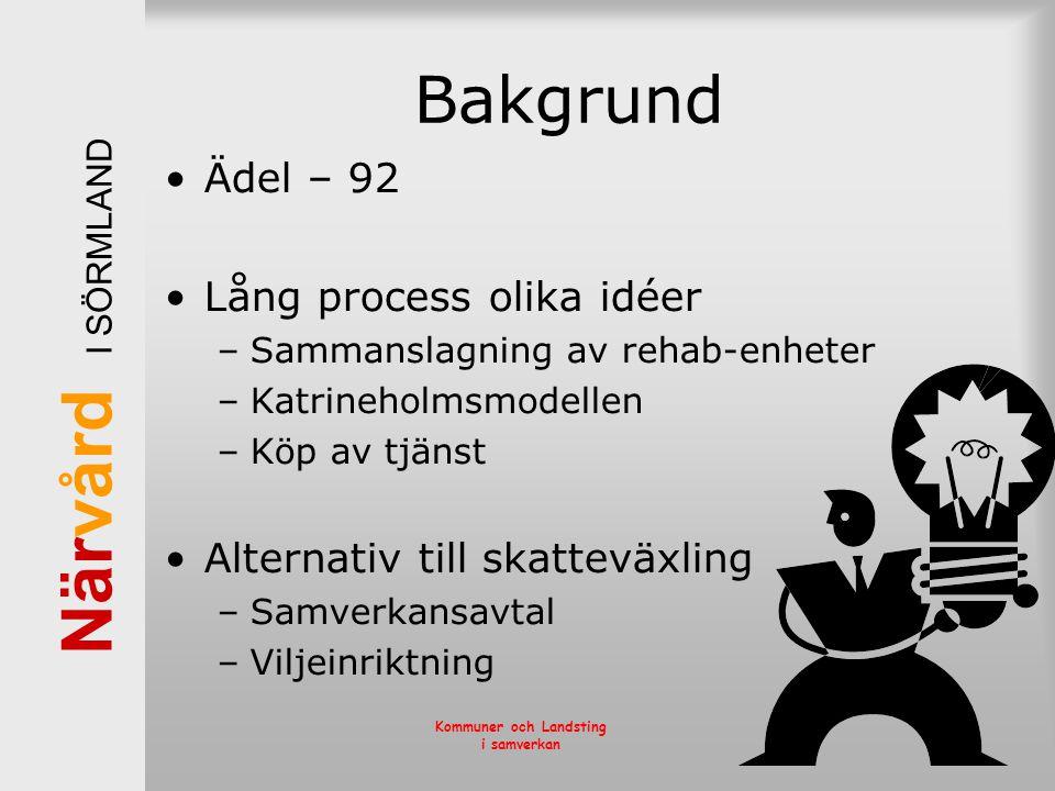 När vård I SÖRMLAND Kommuner och Landsting i samverkan Bakgrund •Ädel – 92 •Lång process olika idéer –Sammanslagning av rehab-enheter –Katrineholmsmod