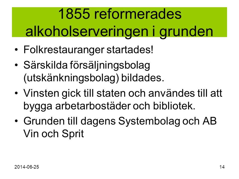 2014-06-2514 1855 reformerades alkoholserveringen i grunden •Folkrestauranger startades! •Särskilda försäljningsbolag (utskänkningsbolag) bildades. •V