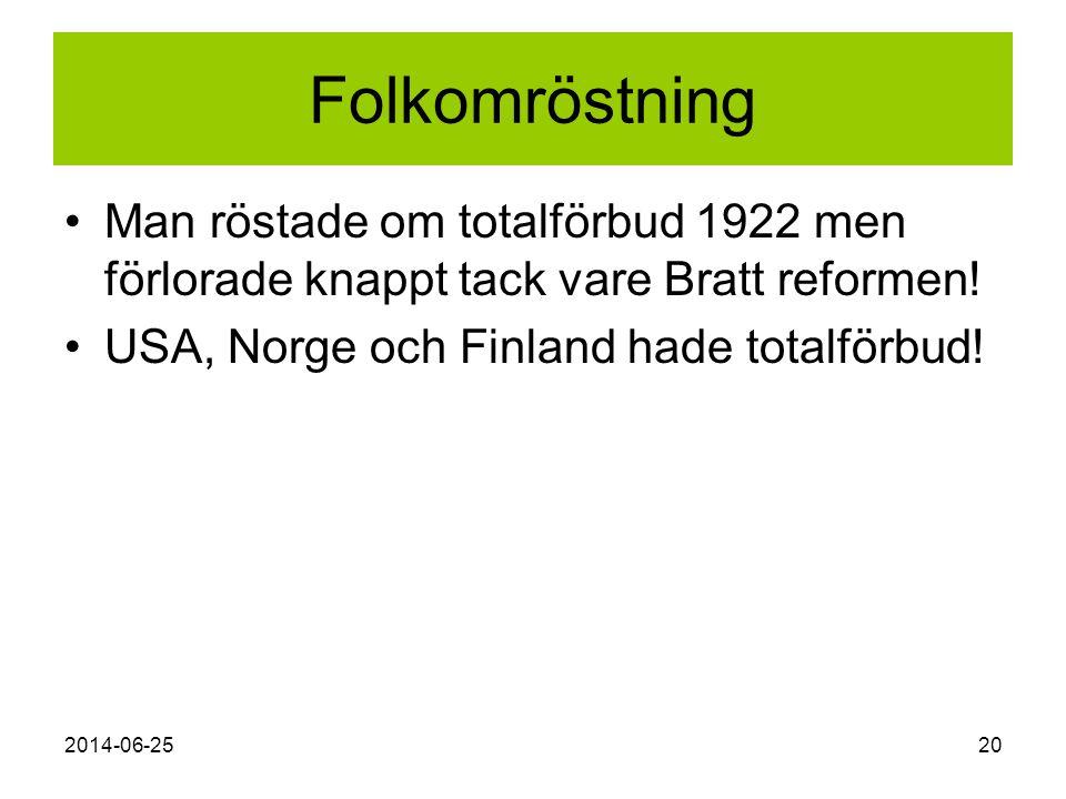 2014-06-2520 Folkomröstning •Man röstade om totalförbud 1922 men förlorade knappt tack vare Bratt reformen! •USA, Norge och Finland hade totalförbud!