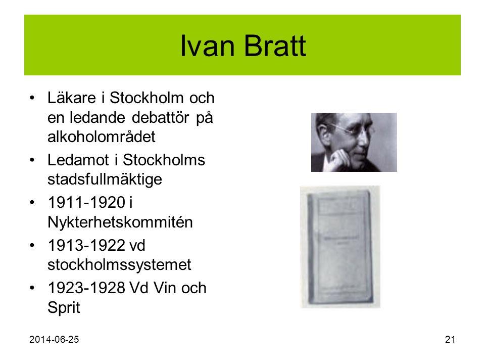 2014-06-2521 Ivan Bratt •Läkare i Stockholm och en ledande debattör på alkoholområdet •Ledamot i Stockholms stadsfullmäktige •1911-1920 i Nykterhetsko