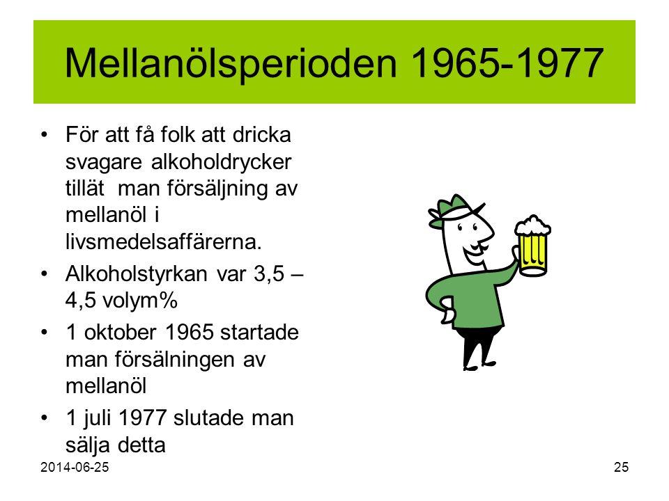 2014-06-2525 Mellanölsperioden 1965-1977 •För att få folk att dricka svagare alkoholdrycker tillät man försäljning av mellanöl i livsmedelsaffärerna.