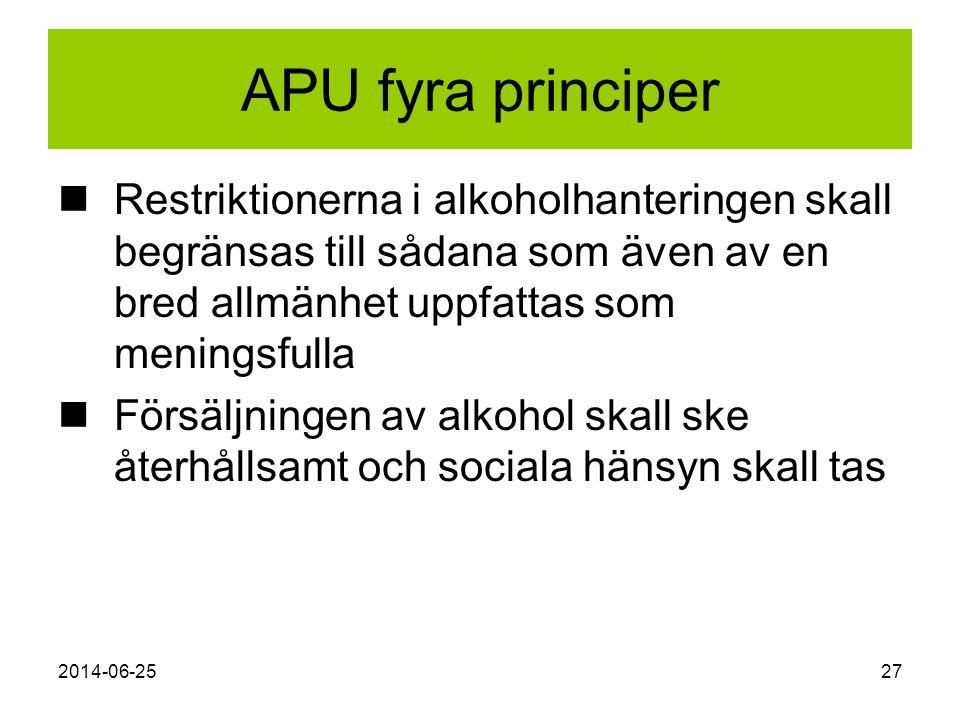 2014-06-2527 APU fyra principer  Restriktionerna i alkoholhanteringen skall begränsas till sådana som även av en bred allmänhet uppfattas som menings