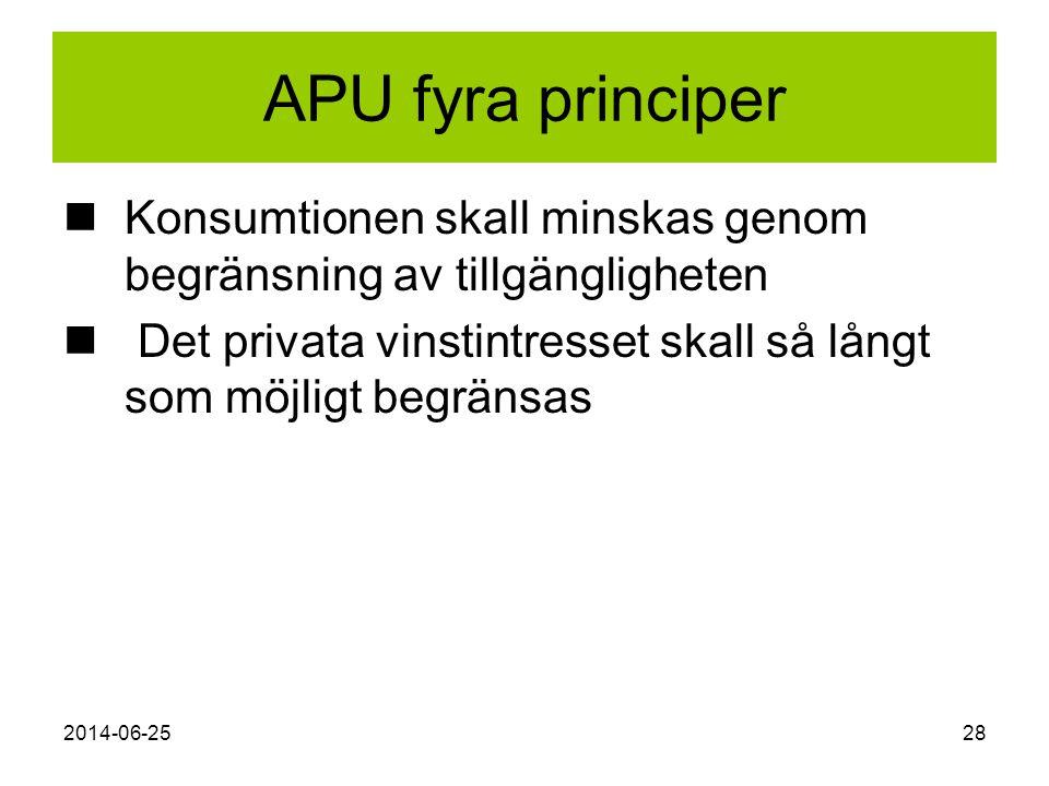 2014-06-2528 APU fyra principer  Konsumtionen skall minskas genom begränsning av tillgängligheten  Det privata vinstintresset skall så långt som möj