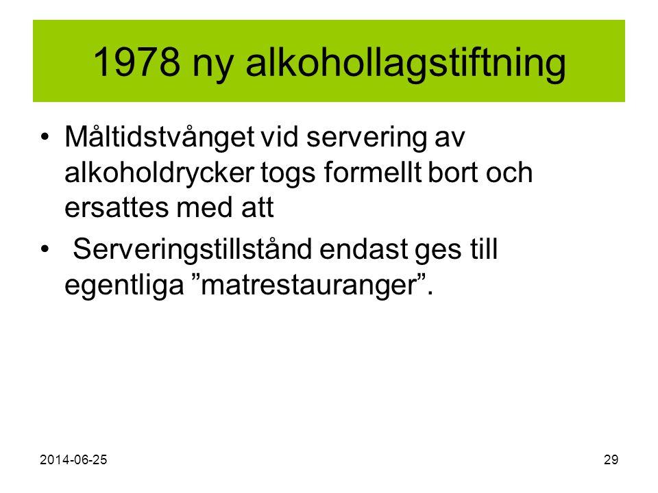 2014-06-2529 1978 ny alkohollagstiftning •Måltidstvånget vid servering av alkoholdrycker togs formellt bort och ersattes med att • Serveringstillstånd