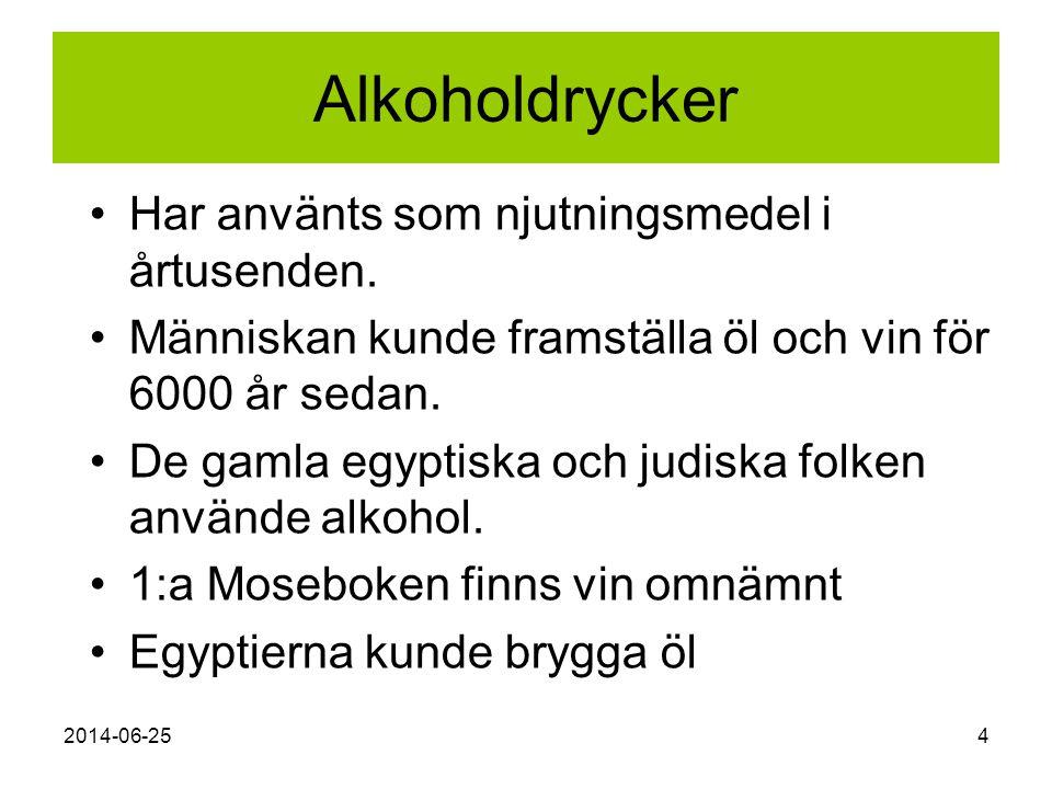 2014-06-254 Alkoholdrycker •Har använts som njutningsmedel i årtusenden. •Människan kunde framställa öl och vin för 6000 år sedan. •De gamla egyptiska