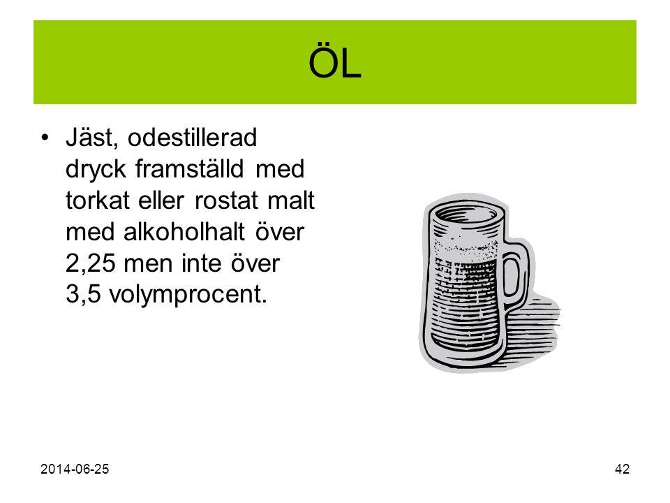 2014-06-2542 ÖL •Jäst, odestillerad dryck framställd med torkat eller rostat malt med alkoholhalt över 2,25 men inte över 3,5 volymprocent.