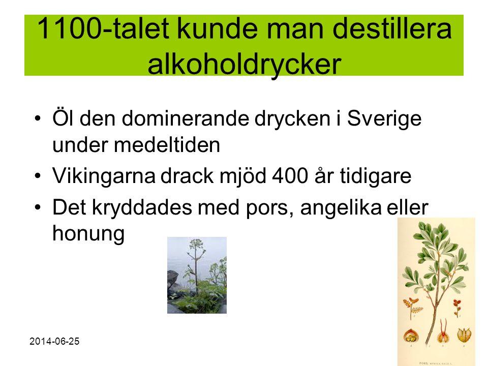 2014-06-256 1100-talet kunde man destillera alkoholdrycker •Öl den dominerande drycken i Sverige under medeltiden •Vikingarna drack mjöd 400 år tidiga