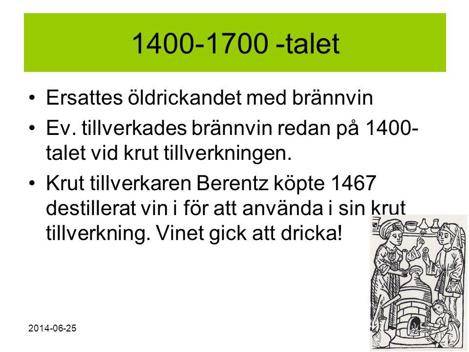 2014-06-258 1400-1700 -talet •Ersattes öldrickandet med brännvin •Ev. tillverkades brännvin redan på 1400- talet vid krut tillverkningen. •Krut tillve