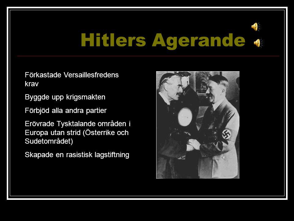 Hitlers Agerande Förkastade Versaillesfredens krav Byggde upp krigsmakten Förbjöd alla andra partier Erövrade Tysktalande områden i Europa utan strid