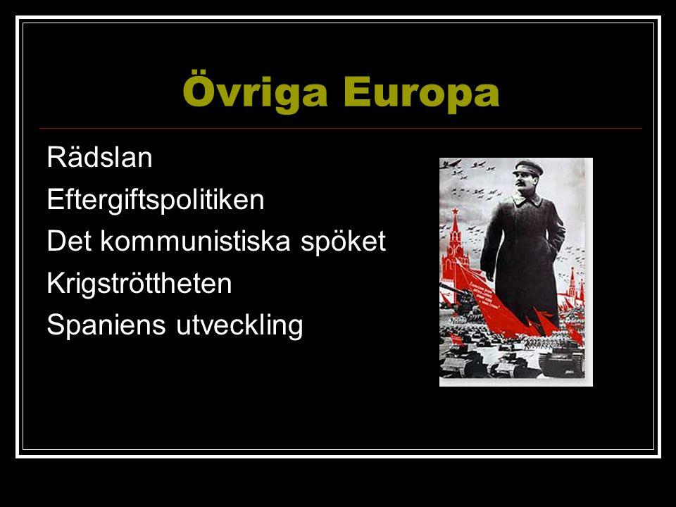 Övriga Europa Rädslan Eftergiftspolitiken Det kommunistiska spöket Krigströttheten Spaniens utveckling