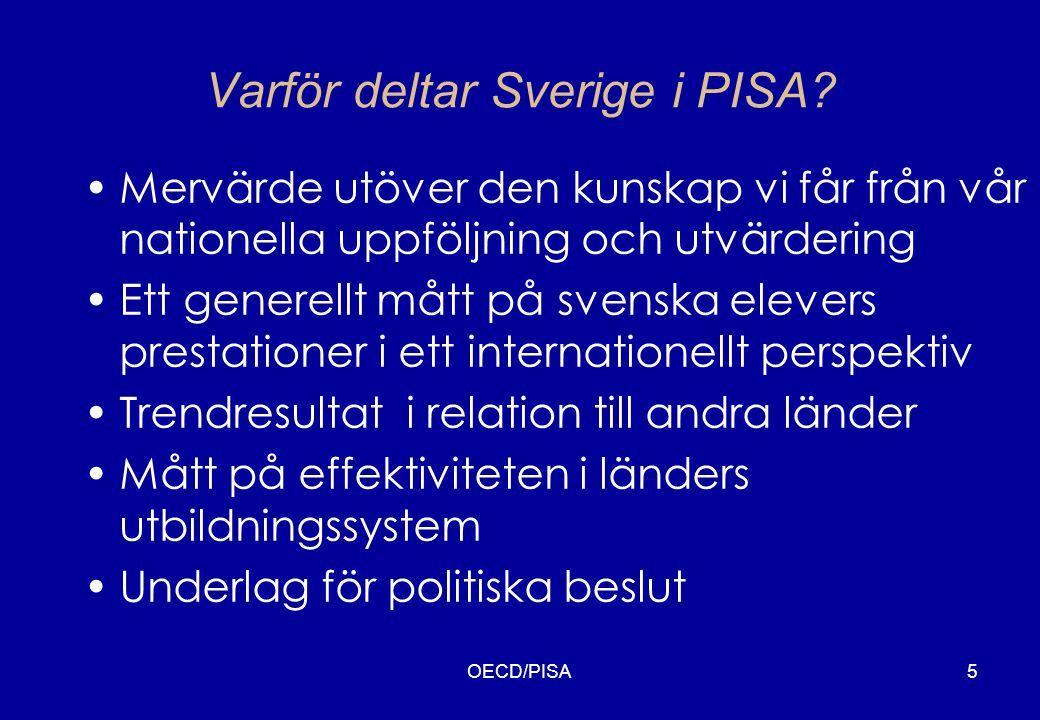 OECD/PISA6 Internationella studier och Sveriges resultat MätningPopulationLäsförståelseMatematikNaturvetenskap FIMS 1964 13-åringar Avgångsklasser i gymn.