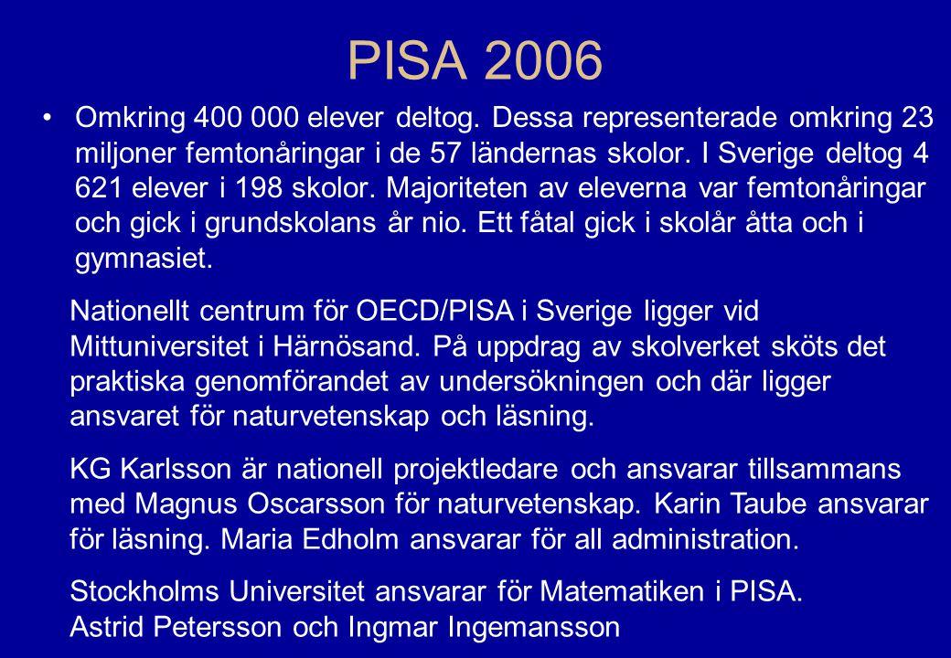 OECD/PISA8 •Eleverna gör ett två timmars prov, med uppgifter från de olika områdena •Elevenkät med bakgrundsdata •Skolenkät till rektorerna PISA provet
