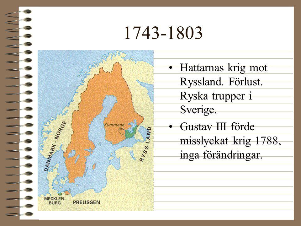 1743-1803 •Hattarnas krig mot Ryssland. Förlust. Ryska trupper i Sverige. •Gustav III förde misslyckat krig 1788, inga förändringar.