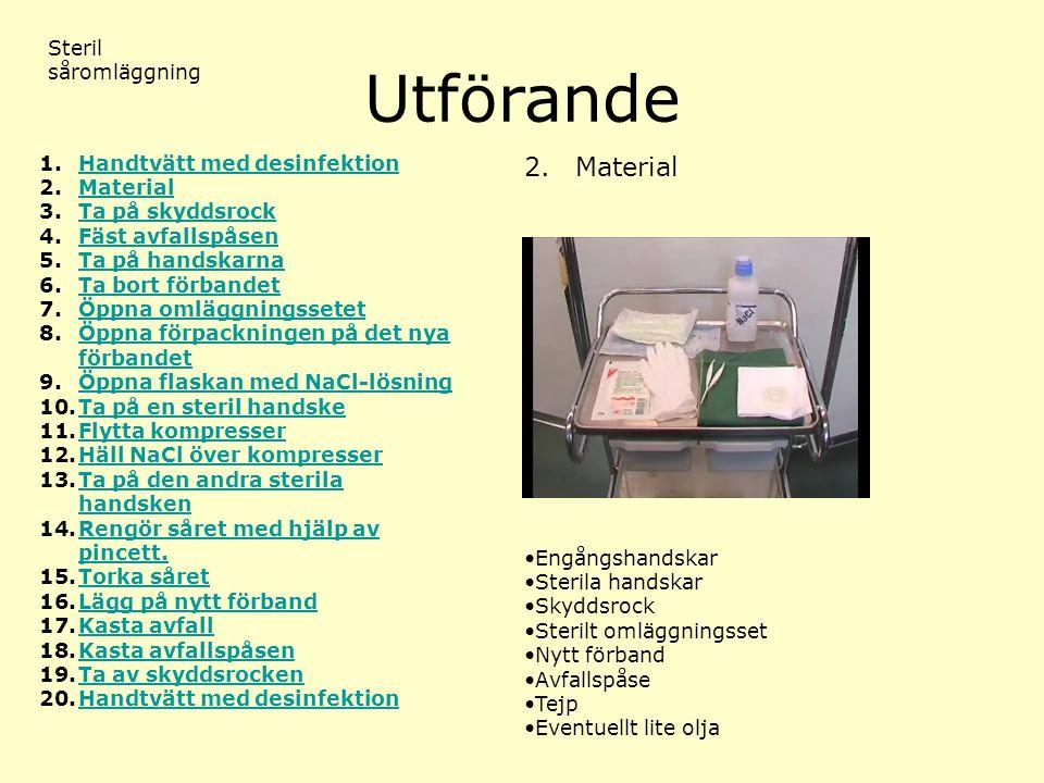 Utförande Steril såromläggning 2. Material 1.Handtvätt med desinfektionHandtvätt med desinfektion 2.MaterialMaterial 3.Ta på skyddsrockTa på skyddsroc
