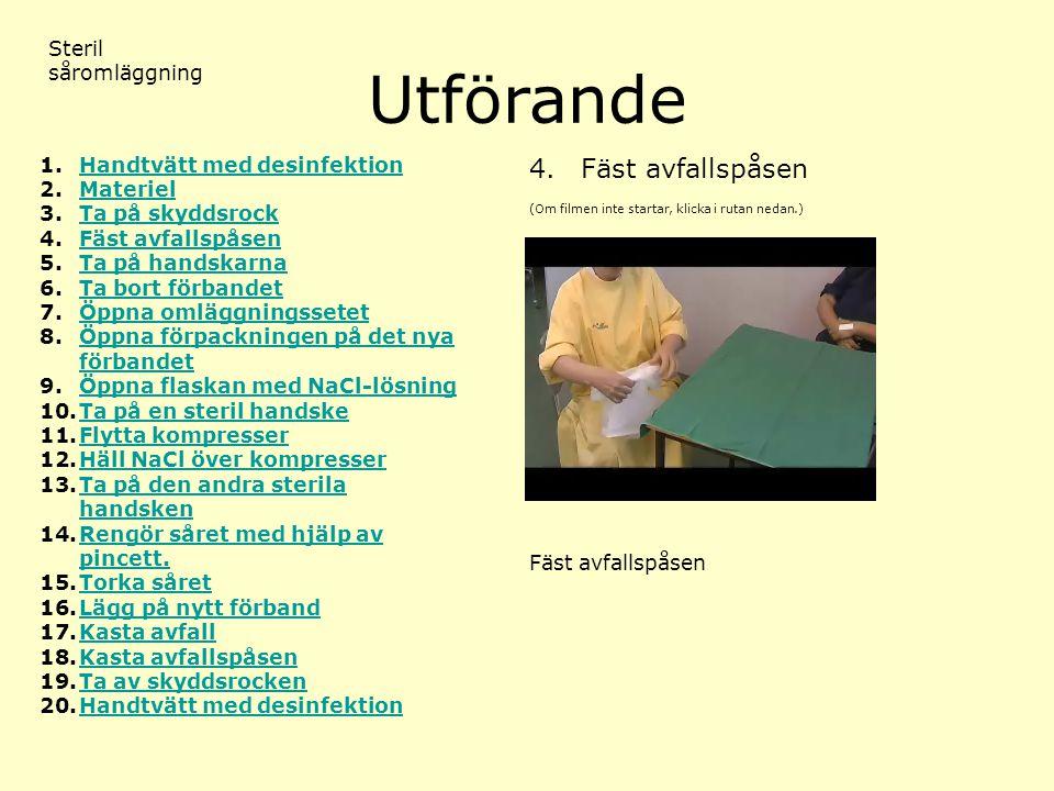 Utförande (Om filmen inte startar, klicka i rutan nedan.) Steril såromläggning 4.Fäst avfallspåsen 1.Handtvätt med desinfektionHandtvätt med desinfekt