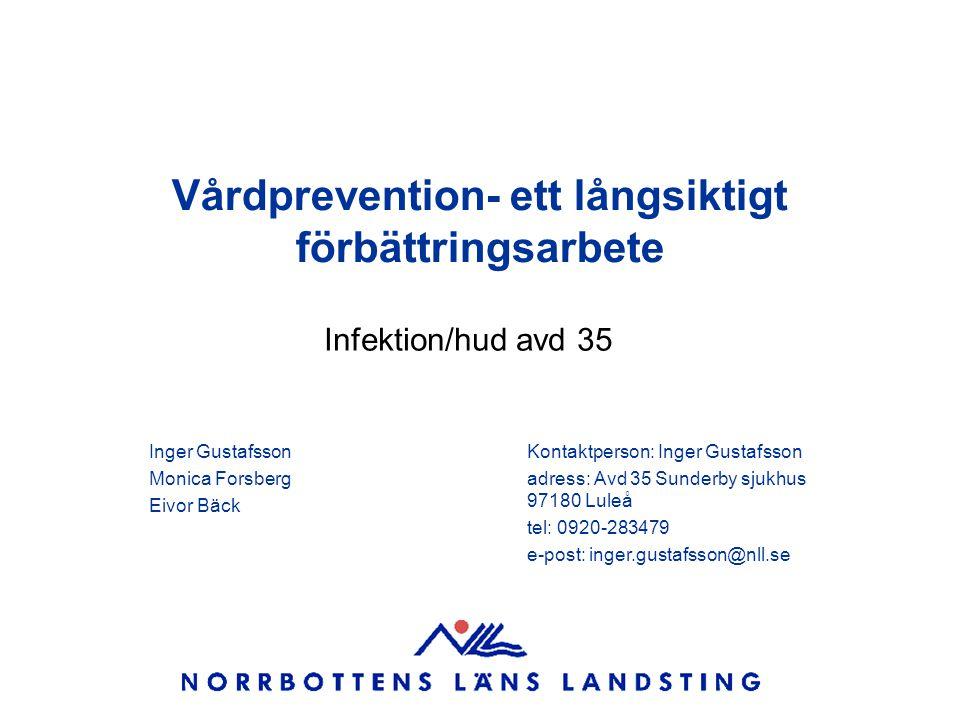 Vårdprevention- ett långsiktigt förbättringsarbete Infektion/hud avd 35 Inger Gustafsson Monica Forsberg Eivor Bäck Kontaktperson: Inger Gustafsson ad