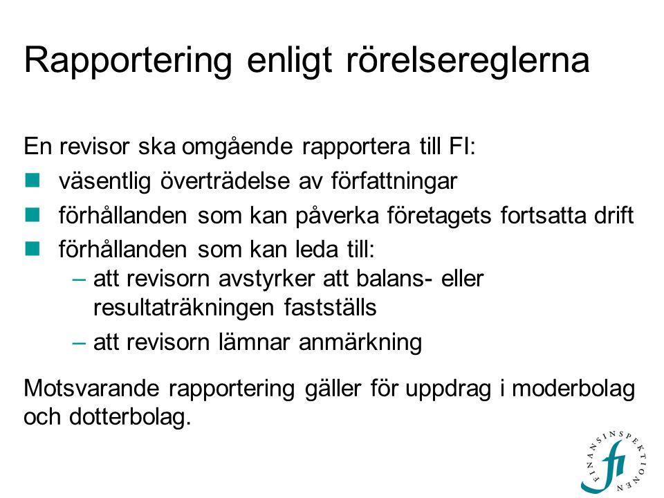 Rapportering enligt rörelsereglerna En revisor ska omgående rapportera till FI:  väsentlig överträdelse av författningar  förhållanden som kan påver