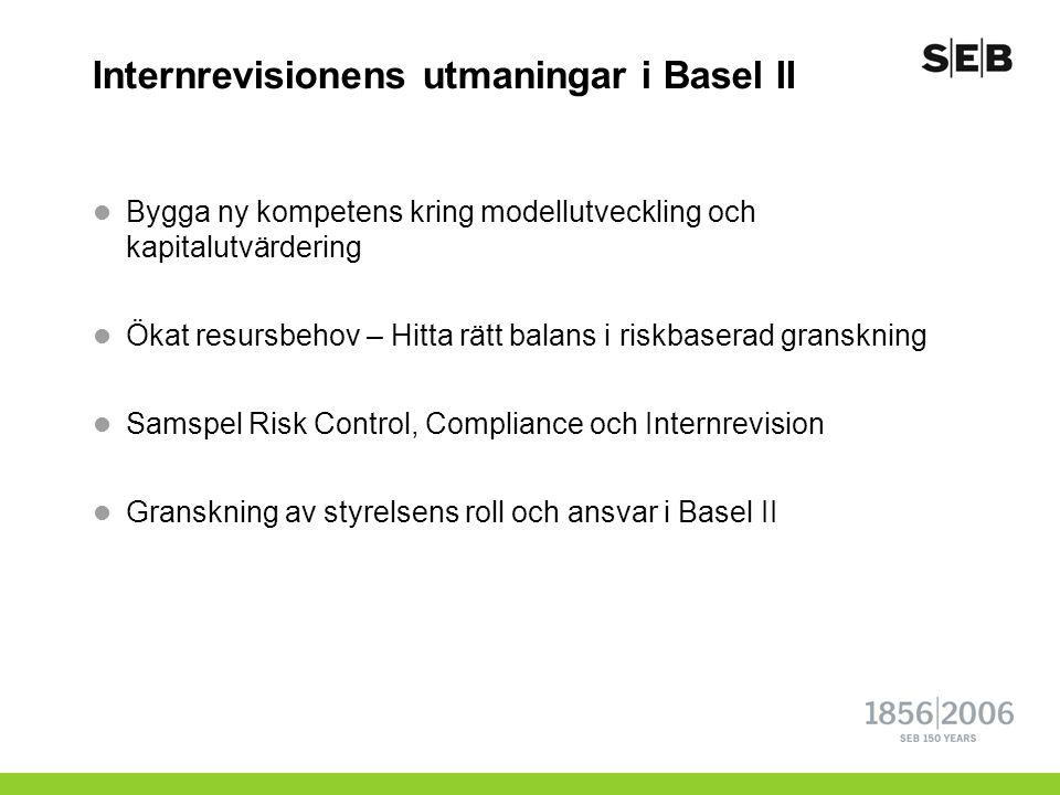 Internrevisionens utmaningar i Basel II  Bygga ny kompetens kring modellutveckling och kapitalutvärdering  Ökat resursbehov – Hitta rätt balans i ri