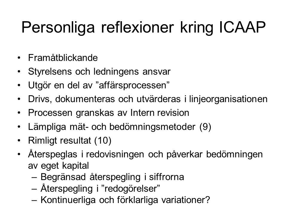 """Personliga reflexioner kring ICAAP •Framåtblickande •Styrelsens och ledningens ansvar •Utgör en del av """"affärsprocessen"""" •Drivs, dokumenteras och utvä"""