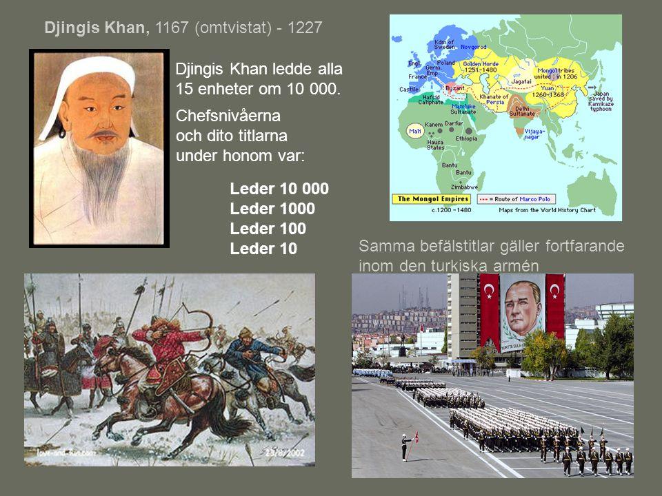 Djingis Khan, 1167 (omtvistat) - 1227 Leder 10 000 Leder 1000 Leder 100 Leder 10 Djingis Khan ledde alla 15 enheter om 10 000. Samma befälstitlar gäll