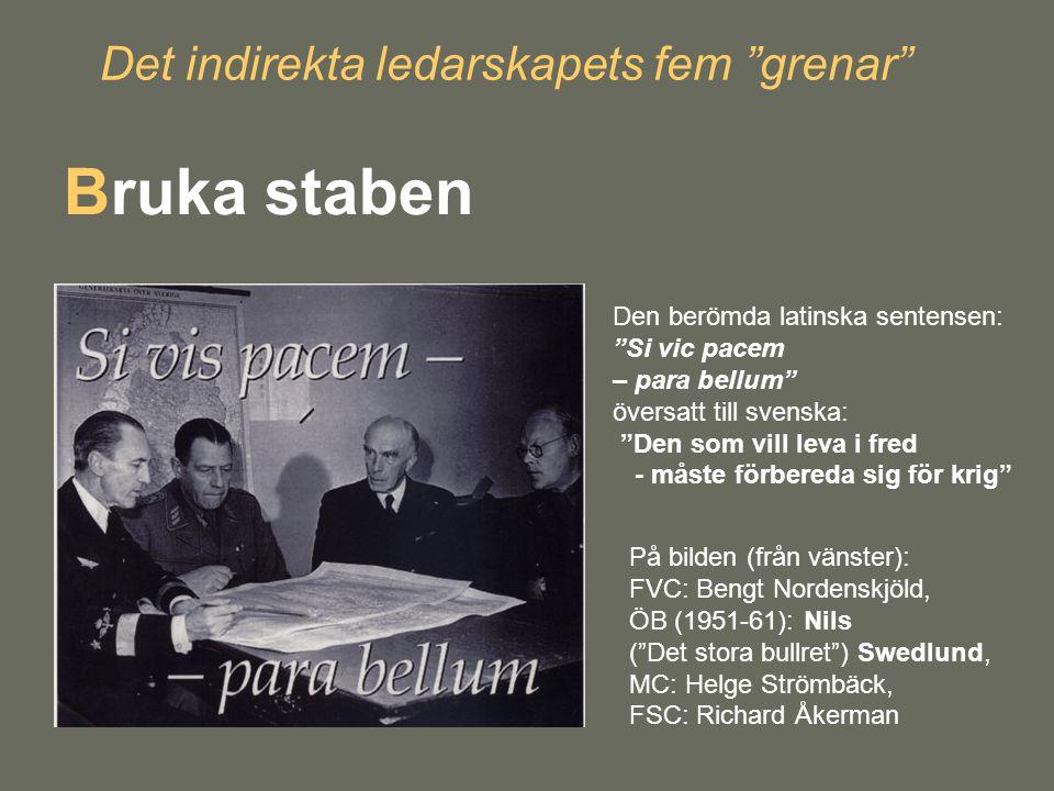 """Det indirekta ledarskapets fem """"grenar"""" Bruka staben Den berömda latinska sentensen: """"Si vic pacem – para bellum"""" översatt till svenska: """"Den som vill"""