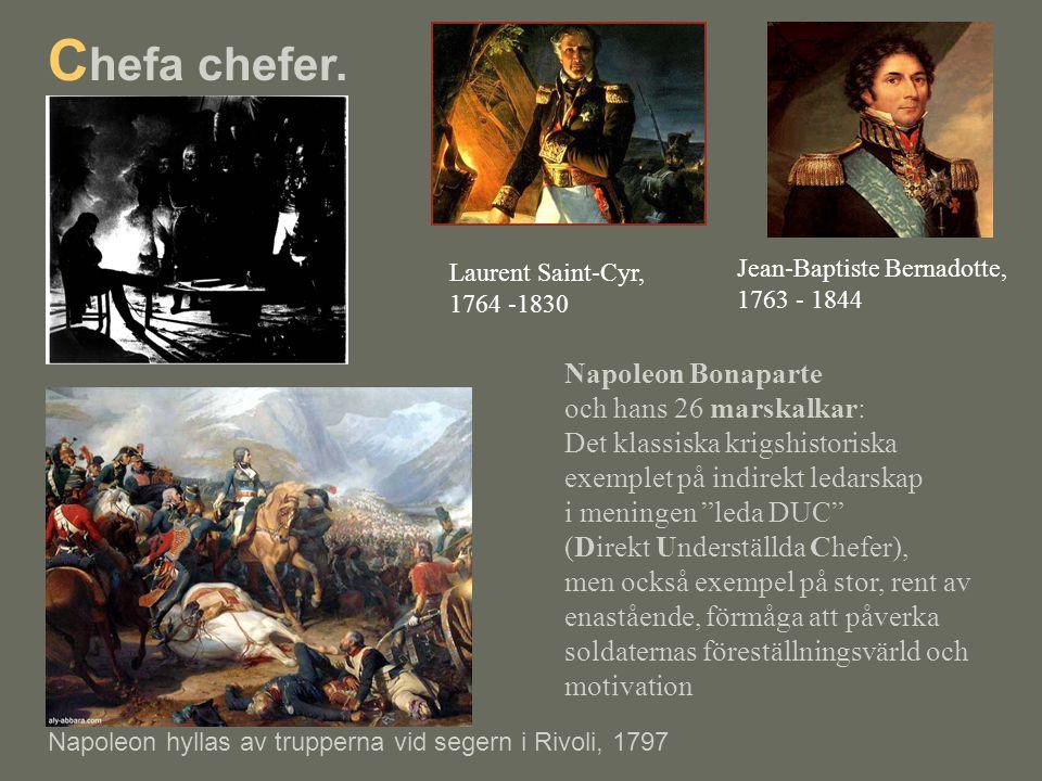 """Napoleon Bonaparte och hans 26 marskalkar: Det klassiska krigshistoriska exemplet på indirekt ledarskap i meningen """"leda DUC"""" (Direkt Underställda Che"""