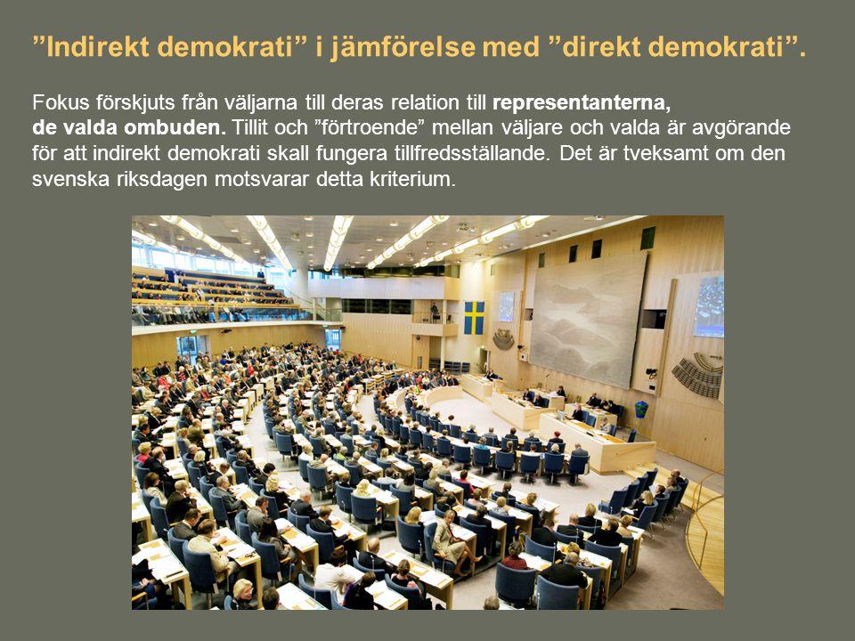 """""""Indirekt demokrati"""" i jämförelse med """"direkt demokrati"""". Fokus förskjuts från väljarna till deras relation till representanterna, de valda ombuden. T"""