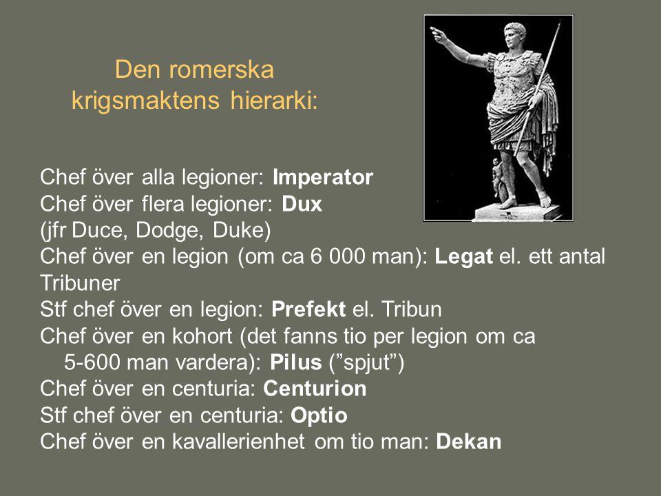 Den romerska krigsmaktens hierarki: Chef över alla legioner: Imperator Chef över flera legioner: Dux (jfr Duce, Dodge, Duke) Chef över en legion (om c