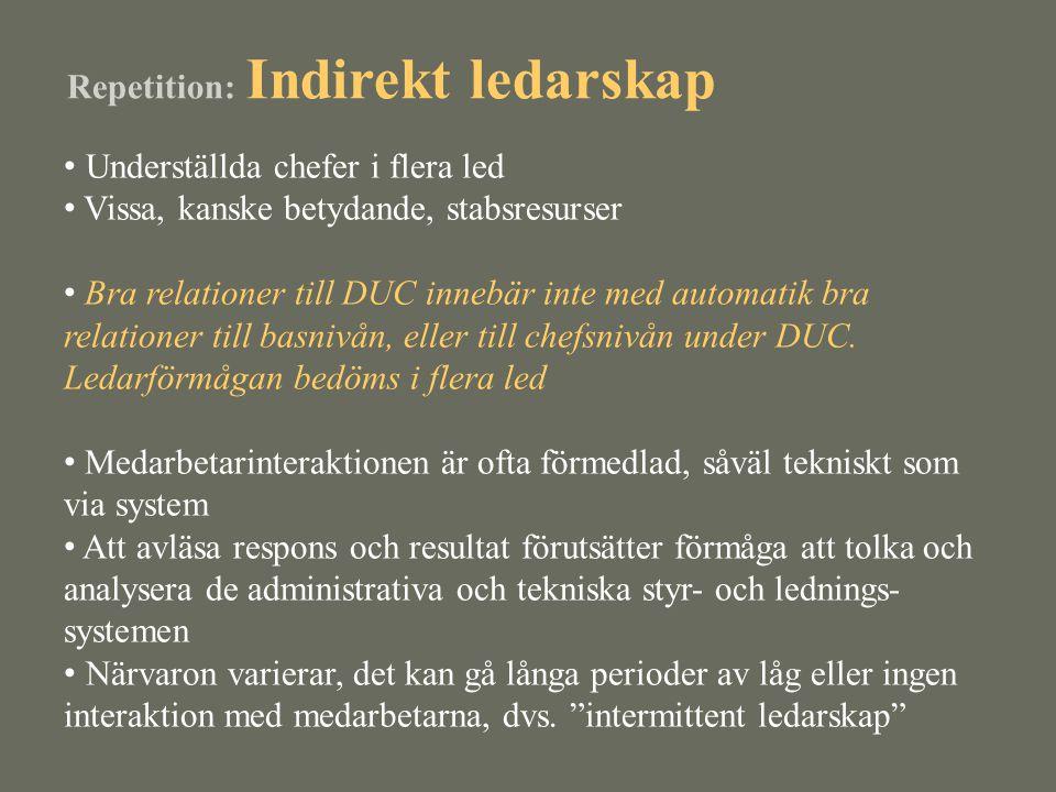 Repetition: Indirekt ledarskap • Underställda chefer i flera led • Vissa, kanske betydande, stabsresurser • Bra relationer till DUC innebär inte med a