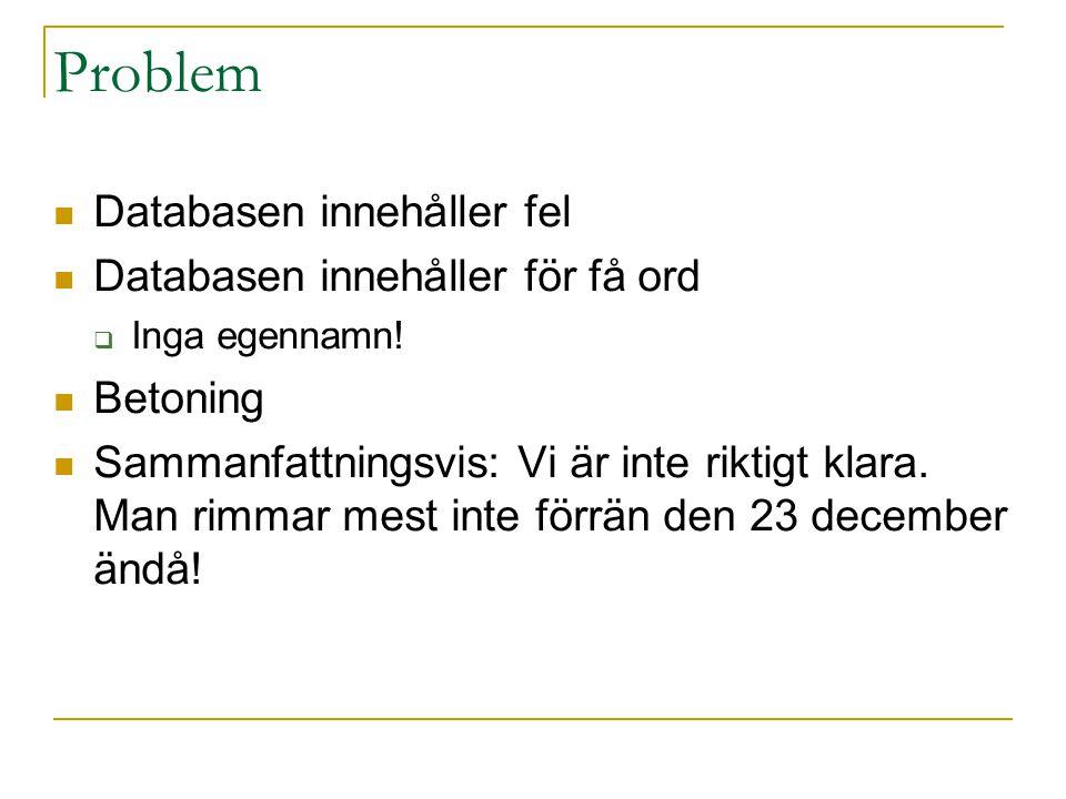 Problem  Databasen innehåller fel  Databasen innehåller för få ord  Inga egennamn!  Betoning  Sammanfattningsvis: Vi är inte riktigt klara. Man r