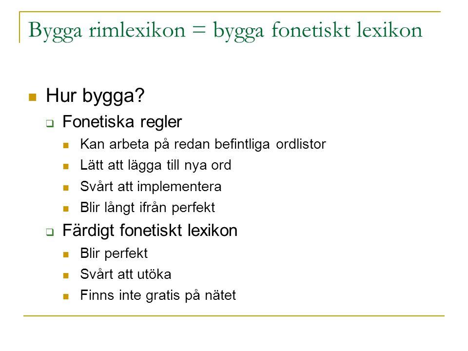 Bygga rimlexikon = bygga fonetiskt lexikon  Hur bygga?  Fonetiska regler  Kan arbeta på redan befintliga ordlistor  Lätt att lägga till nya ord 