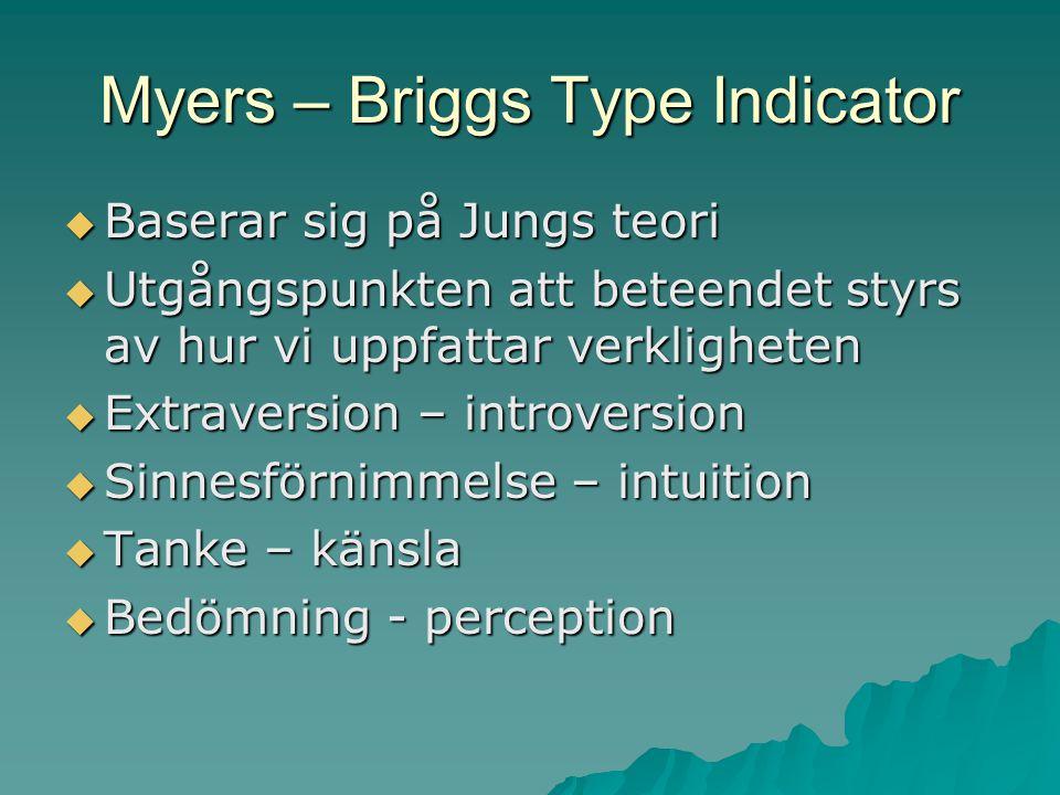 Myers – Briggs Type Indicator  Baserar sig på Jungs teori  Utgångspunkten att beteendet styrs av hur vi uppfattar verkligheten  Extraversion – intr