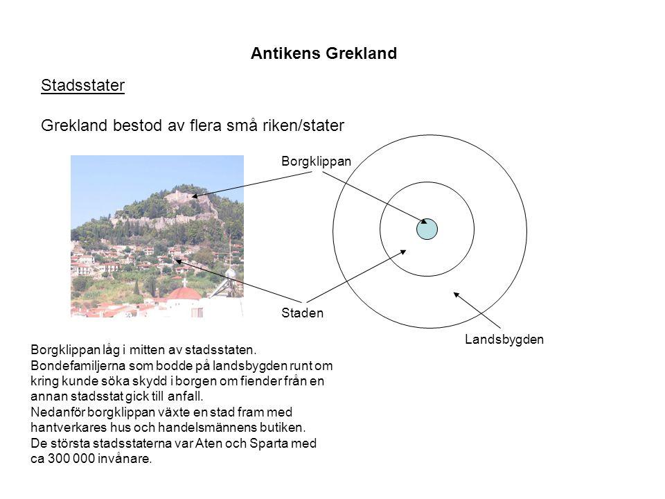 Antikens Grekland Stadsstater Grekland bestod av flera små riken/stater Borgklippan Staden Landsbygden Borgklippan låg i mitten av stadsstaten. Bondef