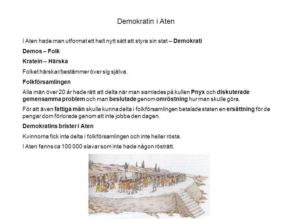 Demokratin i Aten I Aten hade man utformat ett helt nytt sätt att styra sin stat – Demokrati Demos – Folk Kratein – Härska Folket härskar/bestämmer öv