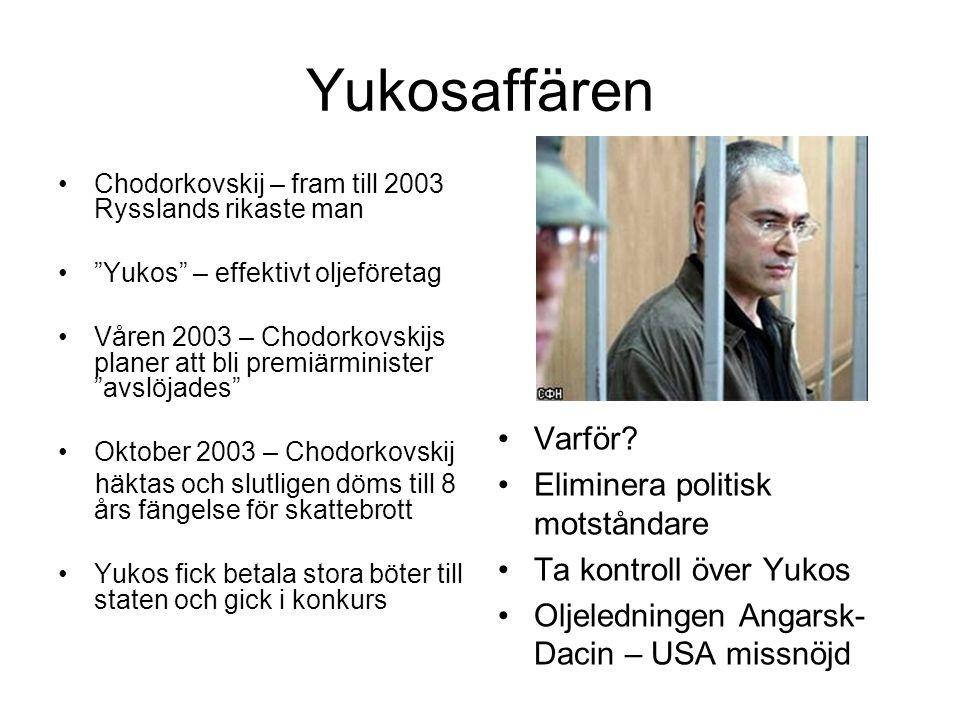 """Yukosaffären •Chodorkovskij – fram till 2003 Rysslands rikaste man •""""Yukos"""" – effektivt oljeföretag •Våren 2003 – Chodorkovskijs planer att bli premiä"""