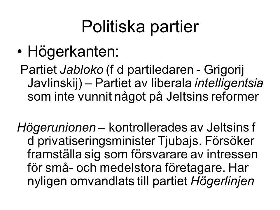 Politiska partier •Högerkanten: Partiet Jabloko (f d partiledaren - Grigorij Javlinskij) – Partiet av liberala intelligentsia som inte vunnit något på