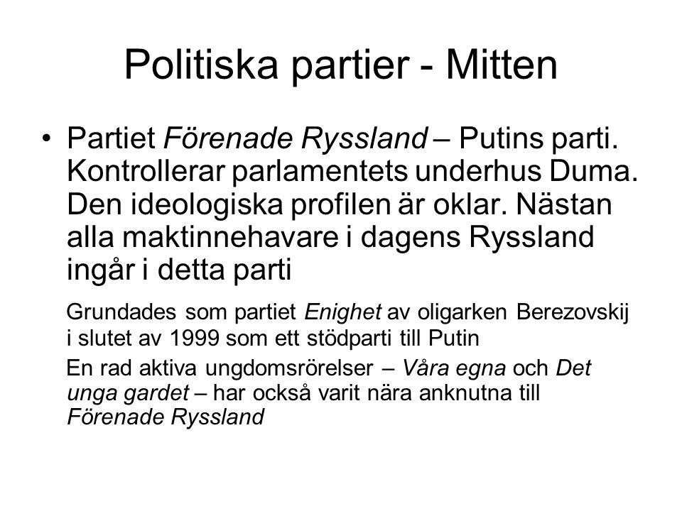 Politiska partier - Mitten •Partiet Förenade Ryssland – Putins parti. Kontrollerar parlamentets underhus Duma. Den ideologiska profilen är oklar. Näst