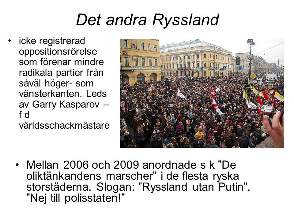 Det andra Ryssland •icke registrerad oppositionsrörelse som förenar mindre radikala partier från såväl höger- som vänsterkanten. Leds av Garry Kasparo
