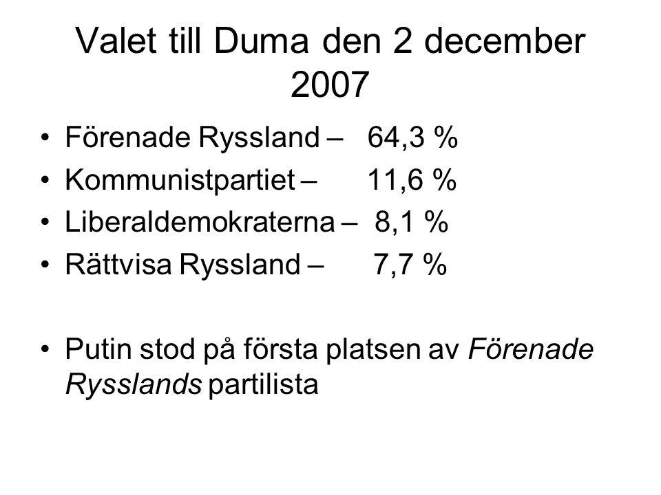 Valet till Duma den 2 december 2007 •Förenade Ryssland – 64,3 % •Kommunistpartiet – 11,6 % •Liberaldemokraterna – 8,1 % •Rättvisa Ryssland – 7,7 % •Pu